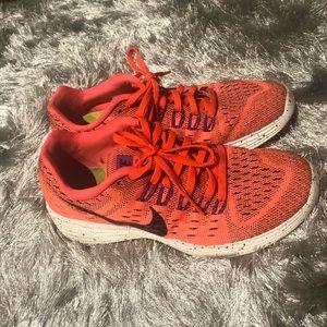 Neon orange, purple, black and white Nike Size 7.5